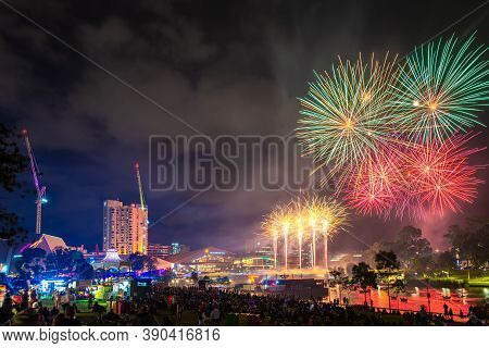 Adelaide, Australia - January 26, 2019: Australia Day Celebration With Fireworks On Display In The C