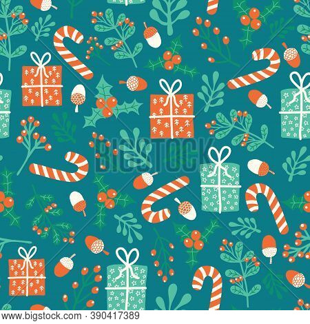 Christmas And New Year Vector Seamless Pattern. Winter Holiday Season Repeating Background With Flat
