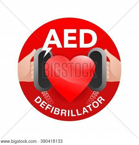 Aed Circular Icon - Automated External Defibrillator -  Isolated Vector Medical Equipment Sign