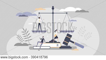 Law As Jurisprudence Knowledge Study And Judge Occupation Tiny Person Concept. Decision Verdict With