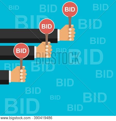Auction, Bidding. People Bid On Auctions. Vector, Cartoon Illustration.