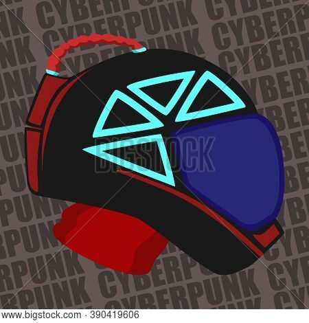 Images Of A Motorcycle Helmet With Additional Elements In The Cyberpunk Style. Images For Various Pu