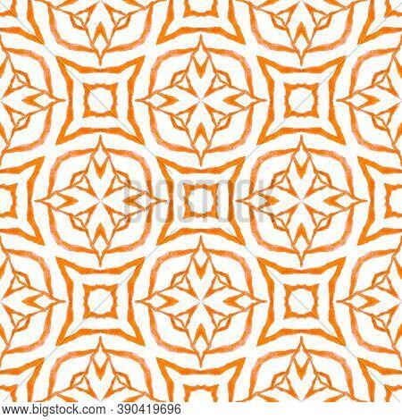 Watercolor Summer Ethnic Border Pattern. Orange Posh Boho Chic Summer Design. Textile Ready Indelibl