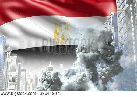 Big Smoke Column In The Modern City - Concept Of Industrial Catastrophe Or Act Of Terror On Egypt Fl