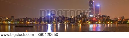 Hanoi Vietnam As Seen From Truc Bach Lake At Night