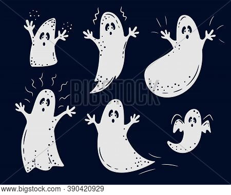 Set Of White Ghosts' Silhouettes On Black Background. Ghost Collection For Halloween Design. Hallowe