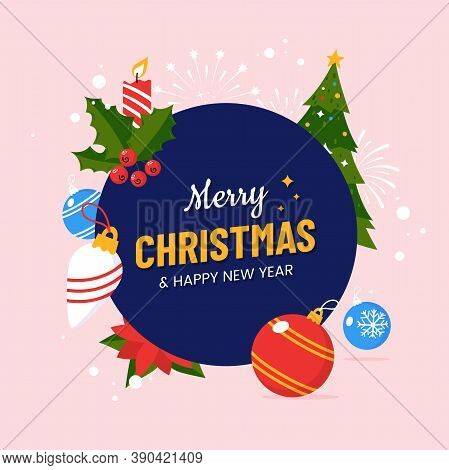 Merry Christmas And Happy New Year Greeting Card Design Design In Flat Cartoon Style. Round Composit