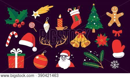 Collection Of Colorful Christmas Objects In Flat Cartoon Style. Christmas Holiday Symbols Isolated O