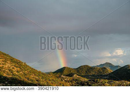Rainbow Landscape. Rainbow In The Mountains, Biokovo, Croatia