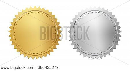Golden And Silver Stamps Isolated On White Background. Luxury Seals. Vector Design Elements