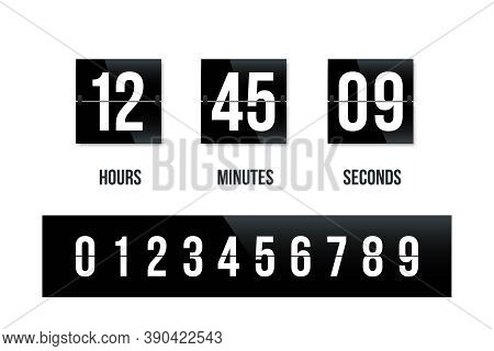 Flip Board Black Clock Panel With Number Countdown. Modern Counter Scoreboard For Time Vector Illust