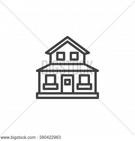 Suburban Residential House Line Icon. Linear Style Sign For Mobile Concept And Web Design. Country H