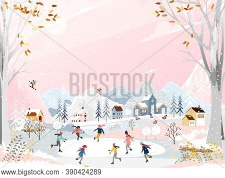 Winter Landscape At Night With People Having Fun Doing Outdoor Activities On New Year,vector City La