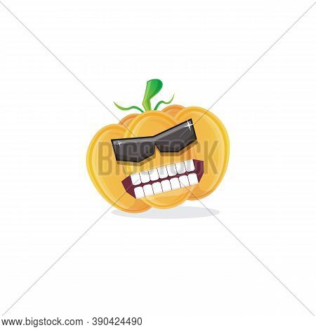 Vector Funny Cartoon Pumpkin Character With Sunglasses Isolated On White Background. Funky Smiling A