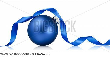 Blue Christmas Bauble With Ribbon Isolated Over White Background. Holiday Ornament, Winter Decoratio