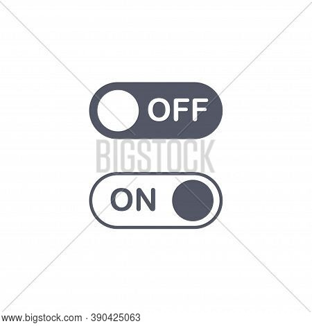 Turn On And Turn Off Swipe Buttons Isolated On White Background. Switch Symbol. Toggle Icon Template