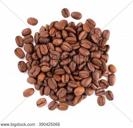 Coffee Beans Isolated On White Background. Roasted Arabica Coffee Beans. Top View.