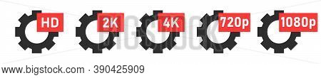 Gear Vector Icon With Hd Sign. Collection Hd Format Vector Icons. Gear Sign With Hd Video Text Isola