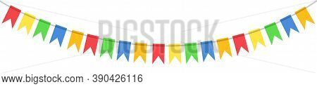 Carnival Colored Garlands. Vector Illustration Of Colorful Flags On A White Background. Party, Holid