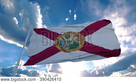 Florida Flag On A Flagpole Waving In The Wind In The Sky. State Of Florida In The United States Of A