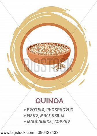 Quinoa Vegan Protein Food In Brown Circle. Pile Of Mixed Raw Quinoa, Grain In Bowl, Source Of Protei