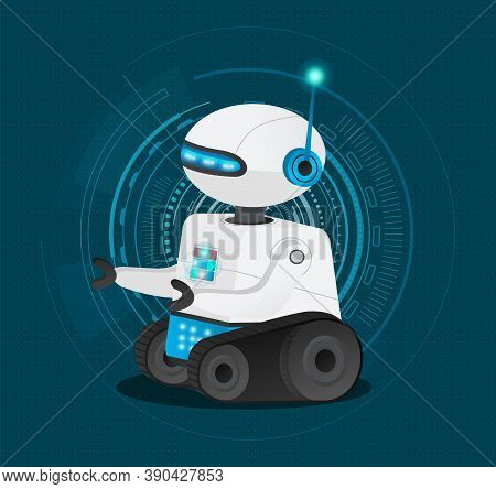Futuristic Model Cyborg Or Robot With Artificial Intelligence. Dark Blue Background With Electronic