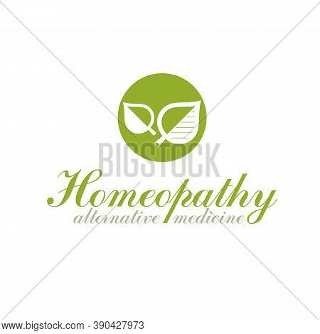 Green Spring Leaves Vector Symbol For Use In Medical And Social Theme Advertisement. Raw Food Diet V