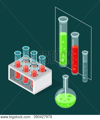 Test Tubes Icon On A Special Stand. Test-tube Flasks With Substances For Researchers. Blood Test Tub