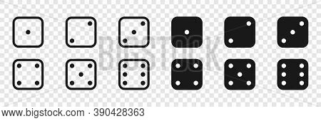 Dice. Dice Vector Icons In A Flat And Linear Design From One To Six. Game Dice, Isolated. Vector Ill