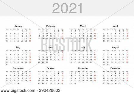 Calendar 2021. Calendar Template For 2021 Year. Calendar, Isolated. Vector Illustration