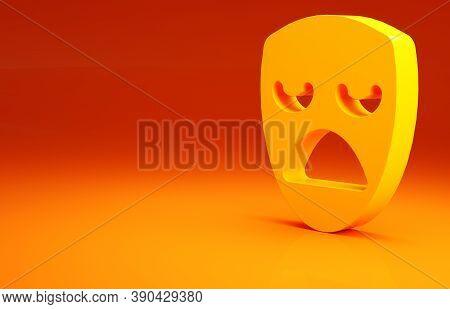 Yellow Drama Theatrical Mask Icon Isolated On Orange Background. Minimalism Concept. 3d Illustration
