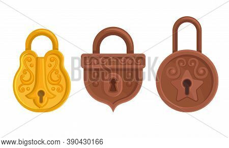 Golden And Copper Padlock With Keyhole As Security Mechanism Vector Set