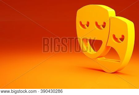 Yellow Comedy And Tragedy Theatrical Masks Icon Isolated On Orange Background. Minimalism Concept. 3