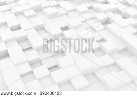 Random Shifted White Cubes Geometrical Pattern Background With Soft Shadows, Minimal Background Temp