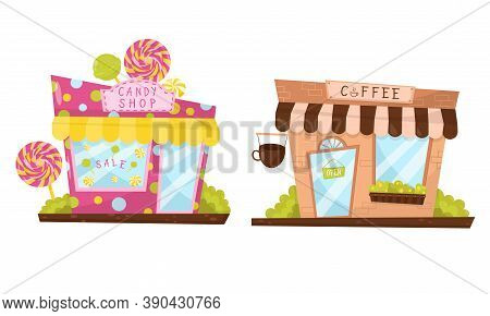 Shop Window Or Store Front With Candy Shop And Coffee Sign Vector Set