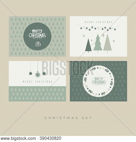 Vintage Christmas Card 2021 Set, Vintage Christmas Elements, Christmas And Happy New Year Templates.