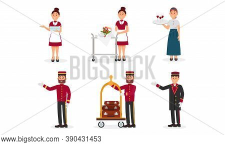 Hotel Staff With Doorman And Chamber Maid Vector Illustration Set