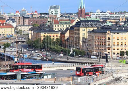 Stockholm, Sweden - August 23, 2018: City Buses In Stockholm, Sweden. The Buses Are Operated By Sl,