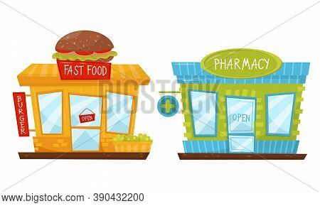 Shop Window Or Store Front With Fast Food And Pharmacy Sign Vector Set