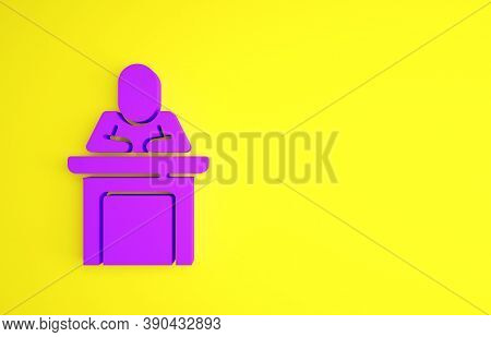 Purple Speaker Icon Isolated On Yellow Background. Orator Speaking From Tribune. Public Speech. Pers