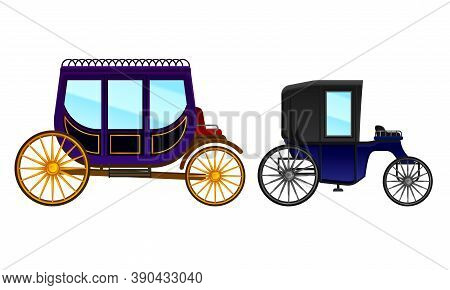Carriage And Coach As Private Four-wheeled Vehicle Vector Set