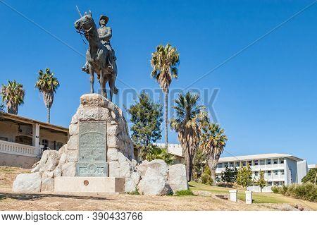Windhoek, Namibia - June 09, 2012: View Of The Reiterdenkmal In Windhoek. The Alte Feste And Windhoe