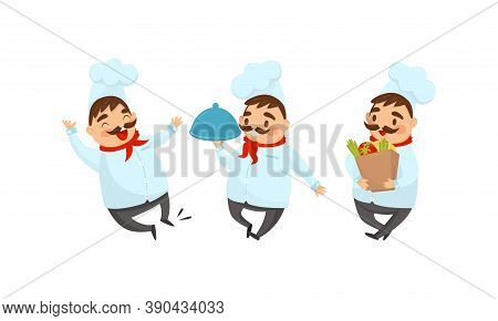 Man Chef With Moustache Carrying Dish Tray And Foodstuff Vector Illustration Set
