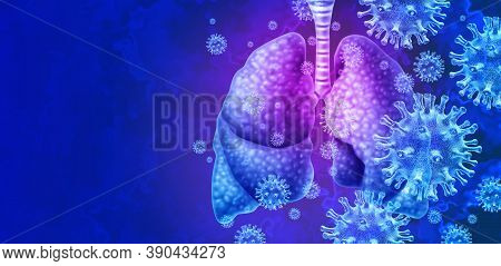 Lungs Virus And Respiratory Infection Or Coronavirus Outbreak And Covid-19 Or Influenza As A Flu Str