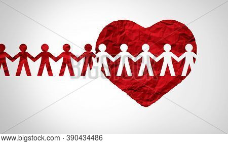 Together United Support Concept And Unity Partnership As A Heart With A Group Of People Connected To