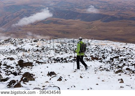 Aragats, Armenia - October 11, 2018: Tourist On The Way To The Crater Of Mount Aragats, Northern Sum