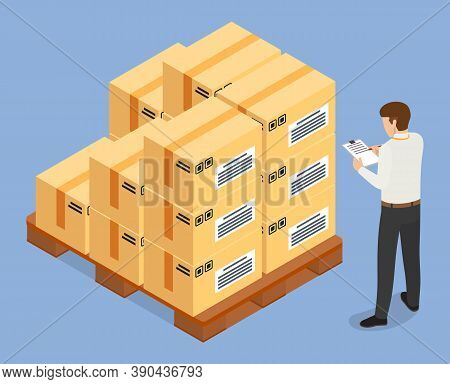 Delivery Of Goods, Products, Cardboxes With Things, Man With Clipboard Checking Parcels In List, Ord