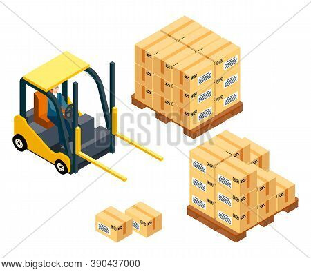 Loading Boxes. Forklift Machine, Vehicle For Loading, Raising Heavy Boxes, Packages. Wooden Palette