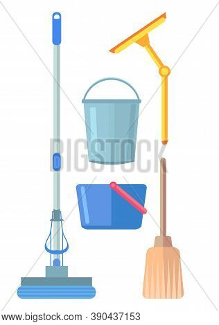 Collection Of Washing Or Cleaning Tools. Professional Equipment For Clean House, Office, Hotel. Mop,