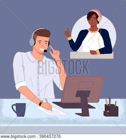 Man Operator Of Call Center Or Hotline Working. Consultant With Headset And Computer Talking With Cu